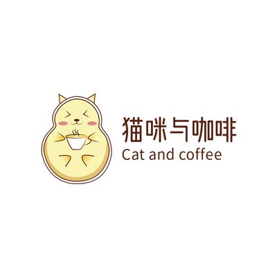 猫咪咖啡店动物卡通logo