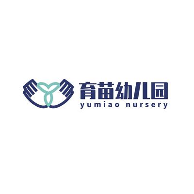 育苗幼儿园蓝绿色logo