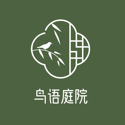 鸟语庭院中国风logo