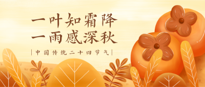 二十四节气霜降黄色插画柿子首图