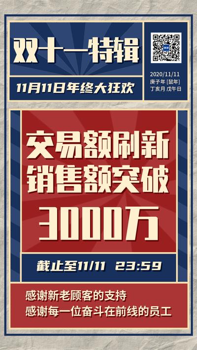 双十一战报复古红蓝报纸风格海报