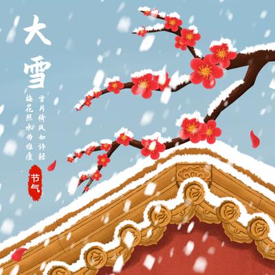 二十四节气大雪手绘插画,红墙金瓦,红梅