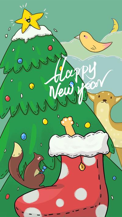 圣诞节,动物插画,手机海报