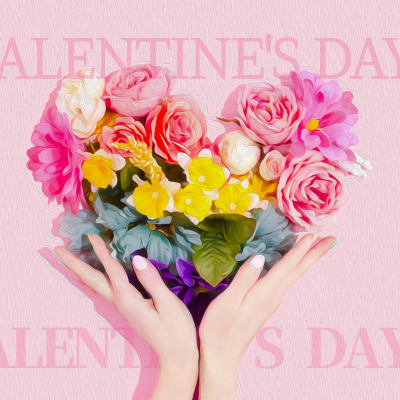 情人节,花朵,爱心,粉色