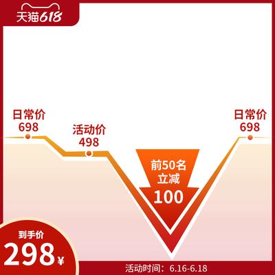 618降价折扣红色主图