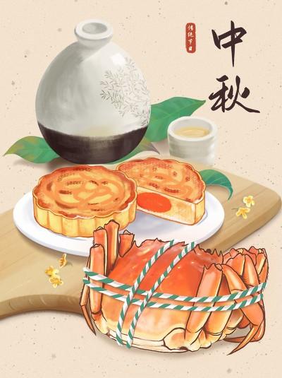 中秋,螃蟹,月饼,美食,酒,小红书配图